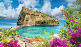 Ischia, island, castle, sea, landscape