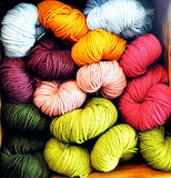 Shelf of yarn