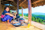 woman cooking outdoors