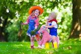 Children, girl, boy, carrots, horse, toy, park, hat