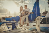 Guitar, yacht, pair, girl, boy, man, woman, romance, fog