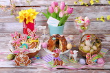 Easter, biscuits, cake, eggs, food, flowers, spring