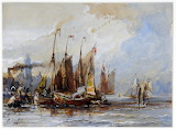 Fishing Boats at a Town Quay by Eugene Louis Gabriel Isabey