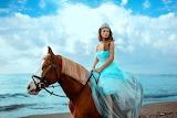 Girl, horse, sea, sky, dress, blue, tiara, princess