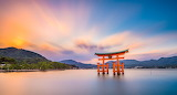 Structure in middle of japanese lake