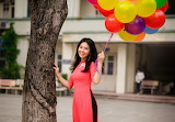 Girl, smile, mood, dress, Asian, balloons, smiling, Vietnamese