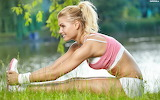 Blonde-stretching-fitness-workout-nature-river