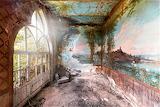 Frescoes large window abandoned villa italy