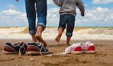 Parent, sea, beach, fun, child, man, father, boy, sneakers, shoe