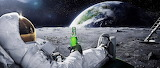 man On the Moon DRINKING A Beer