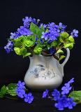 Caraffa con fiorini azzurro-viola
