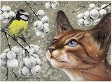 Cat and bird by Irina Garmashova