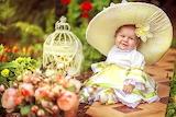 Child, girl, hat, dress, bird cage, garden, nature, cute