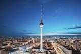 Berlin germany skyline dusk with tower