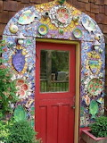 #WMP Red Door Amidst Mosaic Trim with Fish and Flower Plates