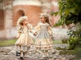 Children, girls, track, girlfriends, nature, trees, friends, smi