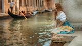Water, girl, pose, dress, Venice, channel, gondola, woman