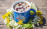 Blue mug, herbal tea, flowers, health, spring