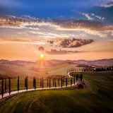 Country road at sunset Tuscany Italy