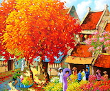 Autumn-trees-houses-people-flower-market-painting