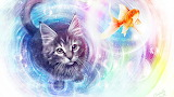 Cat looking at fish floating in bubble