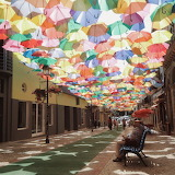 Umbrella Sky in Agueda, Portugal, via AD