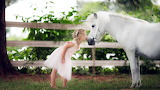 Horse, kiss, unicorn, girl, child, grass, fence, trees
