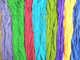 Rainbow yarn strands