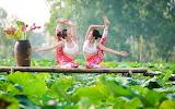 Girls, gymnastics, yoga, Asian, leaves, flowers, vase, nature