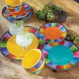 ^ Turquoise Fiesta dinnerware collection