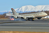Etihad Cargo 747 Lands at Anchorage Alaska