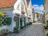 Cobblestone street in Stavanger, Norway