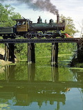 Steam engine crossing creek