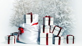 Christmas - gifts - tree - white - red ribbon