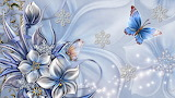 flowers snowflakes and butterflies