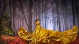 Girl with golden skirt