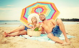 Man, woman, girl, couple, beach, hat