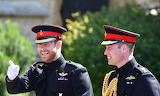 Prince William & Prince Harry walking to chapel