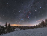 "Space tumblr nasa-daily ""Quadrantid Meteors through Orion"""