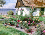 Rose Bushes & Cottage by Water~ PederMork Mønsted fine ar
