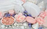 Soap, bath products, shells, flowers
