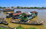 Houseboats on the river at Chau Doc, Vietnam