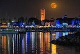 Shoreline Village with the Full Harvest Moon Rising
