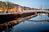 Dublin Ireland bridges at dusk