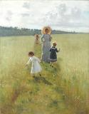 Рєпін І.Ю. В.О. Рєпіна з дітьми йде межею