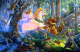 Forest princess riding unicorn with jungle animals fairy tale pa