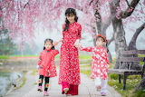 Asian girl, children, path, pond, bench, park, tree pink flowers