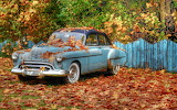 old car, autumn leaves