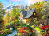 Painting-beautiful-cottage-forest-river-bridge