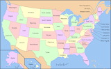 Map of USA with sta